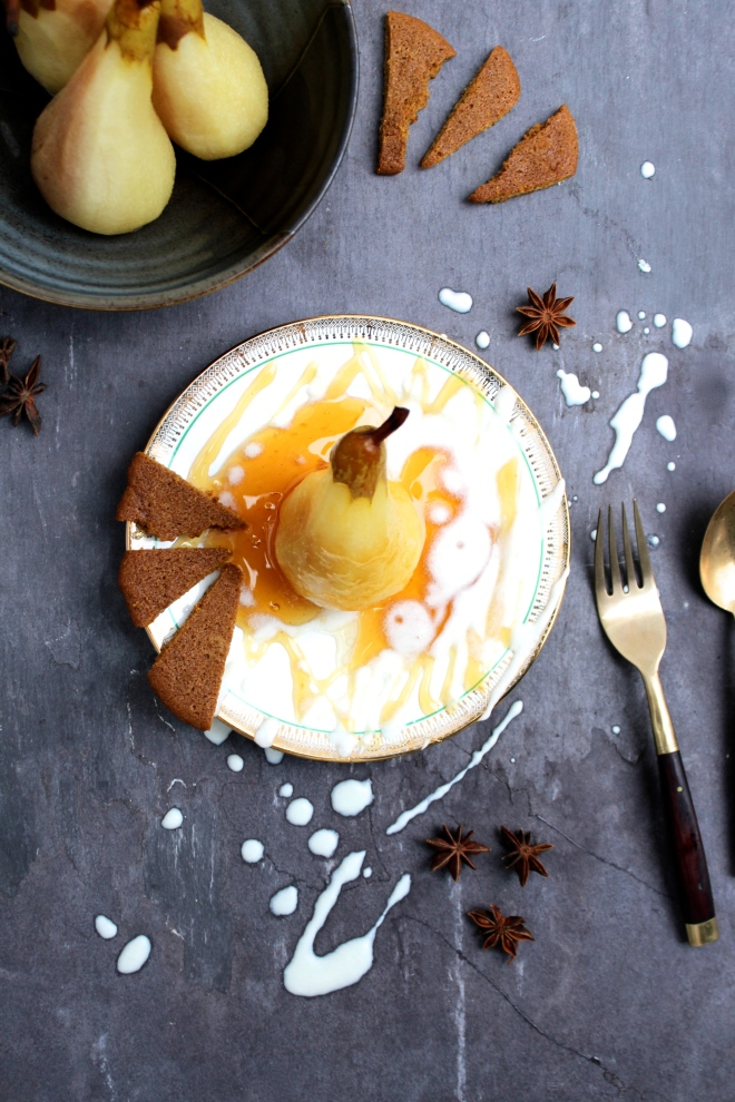 Bourbon-poached-Pears-with-Ginger-Snaps+Maple-Cream-vegan-dessert-recipe-Donuts+Bolts
